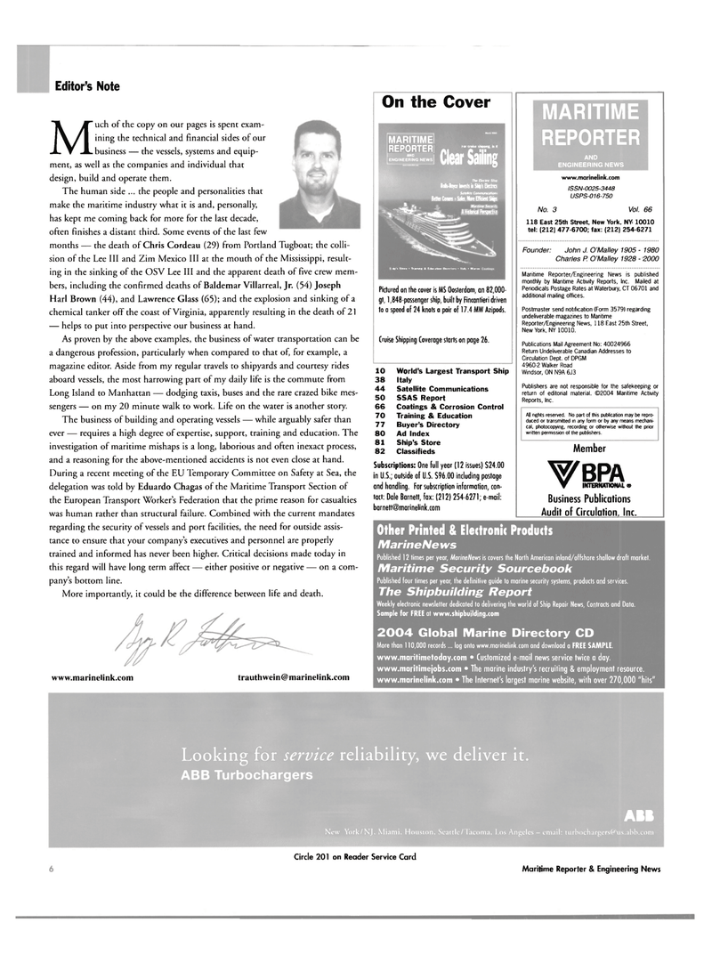 Maritime Reporter Magazine, page 6,  Mar 2004 Mississippi