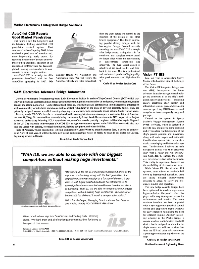 Maritime Reporter Magazine, page 52,  May 2004