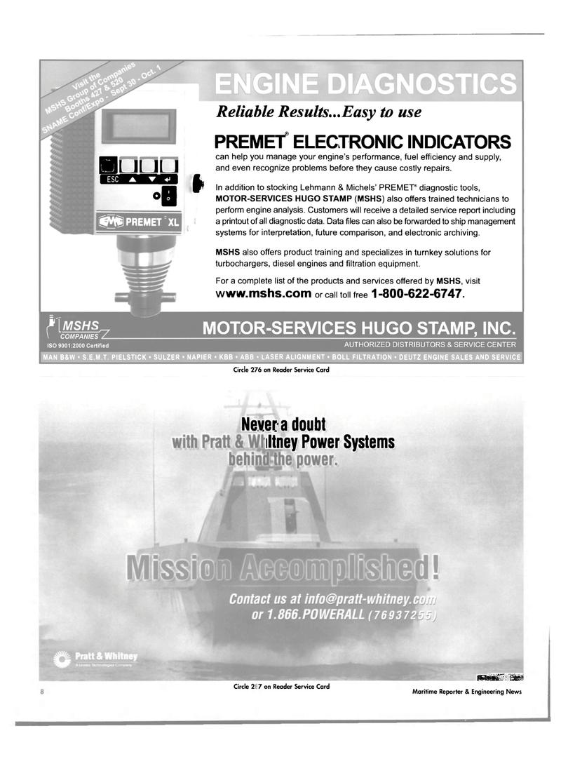 7 Maritime Reporter Magazine Page 8 Sep 2004 DEUTZ ENGINE SALES AND SERVICE