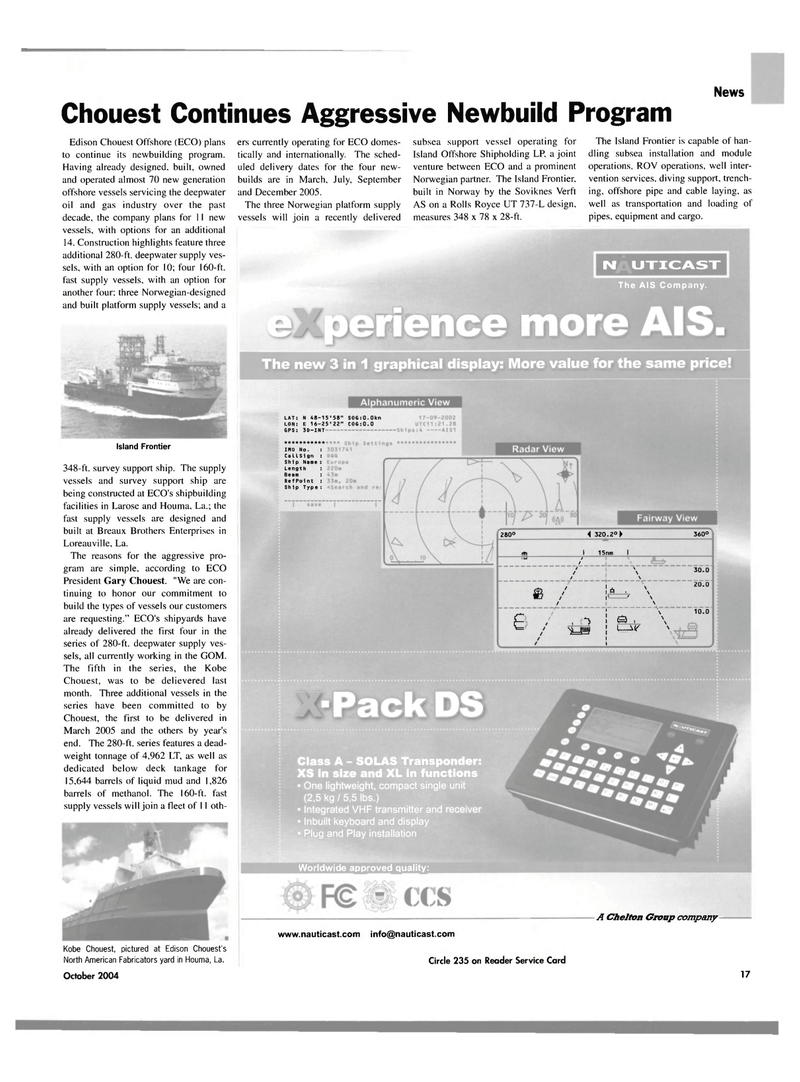 Maritime Reporter Magazine, page 17,  Oct 2004