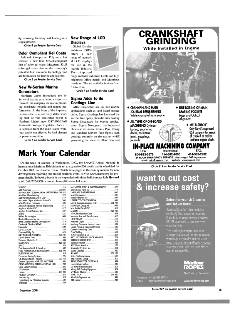 Maritime Reporter Magazine, page 15,  Dec 2004