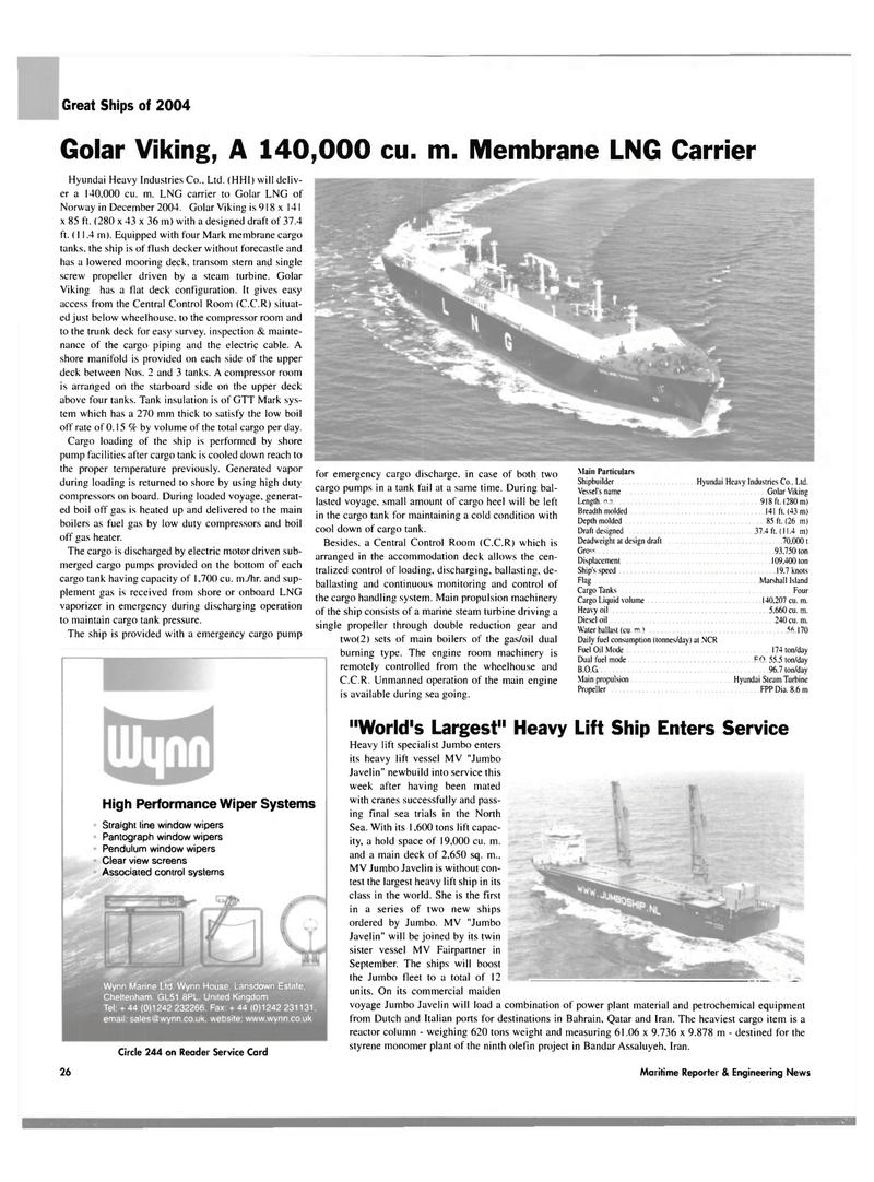 Maritime Reporter Magazine, page 26,  Dec 2004
