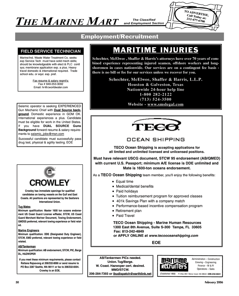 Washington, Maritime Reporter Magazine February 2, 2006 #50
