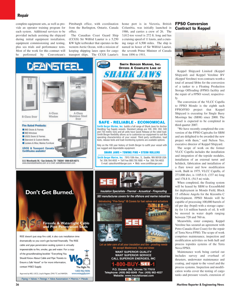 east coast, Maritime Reporter Magazine August 2006 #36