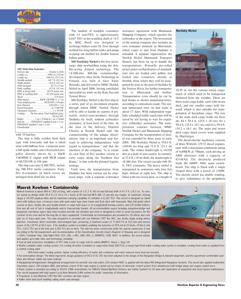 Maritime Reporter Magazine, page 20,  Dec 2, 2006 Norilsk Nickel Murmansk Transport Branch