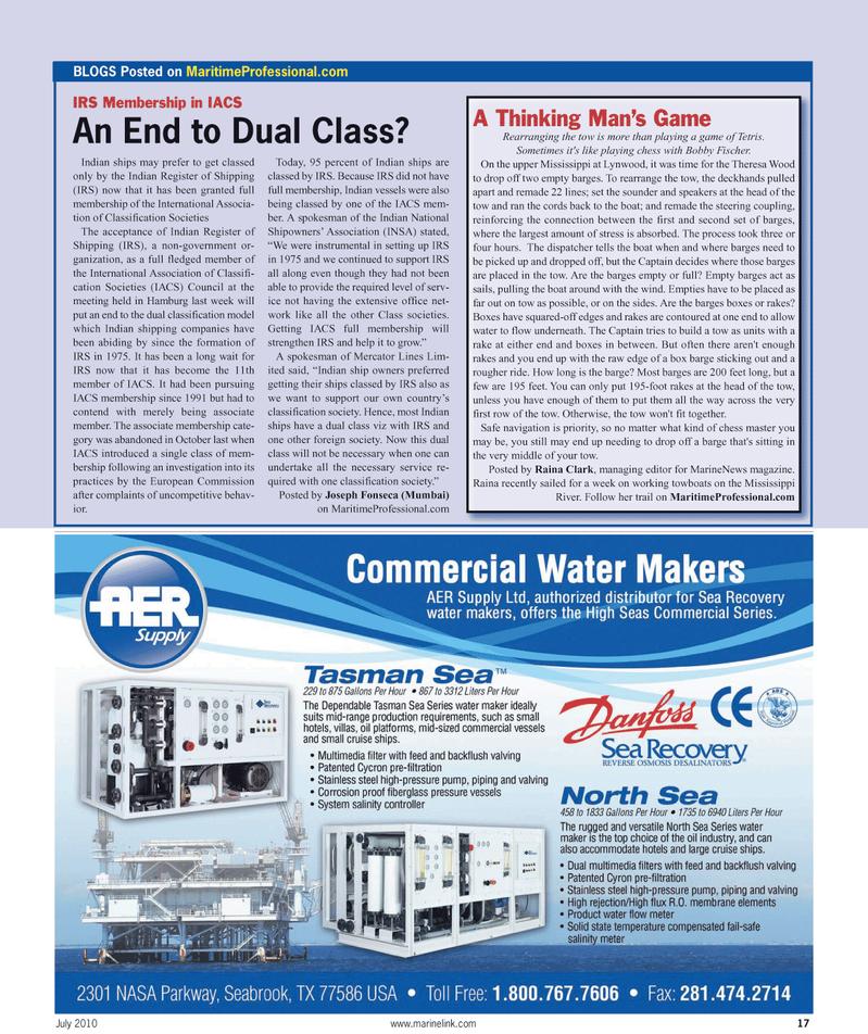 Maritime Reporter Magazine, page 17,  Jul 2010 Bobby Fischer