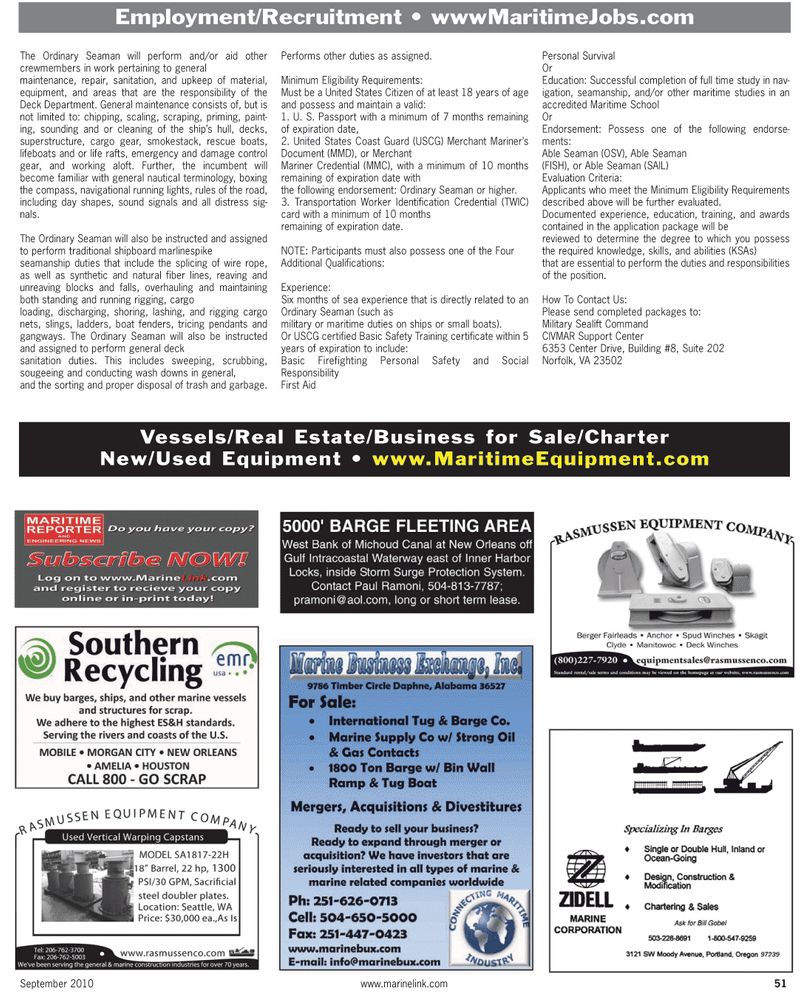 Virginia, Maritime Reporter Magazine September 2010 #51