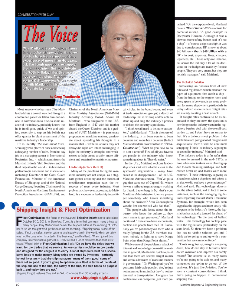 Maritime Reporter Magazine, page 10,  Sep 2012