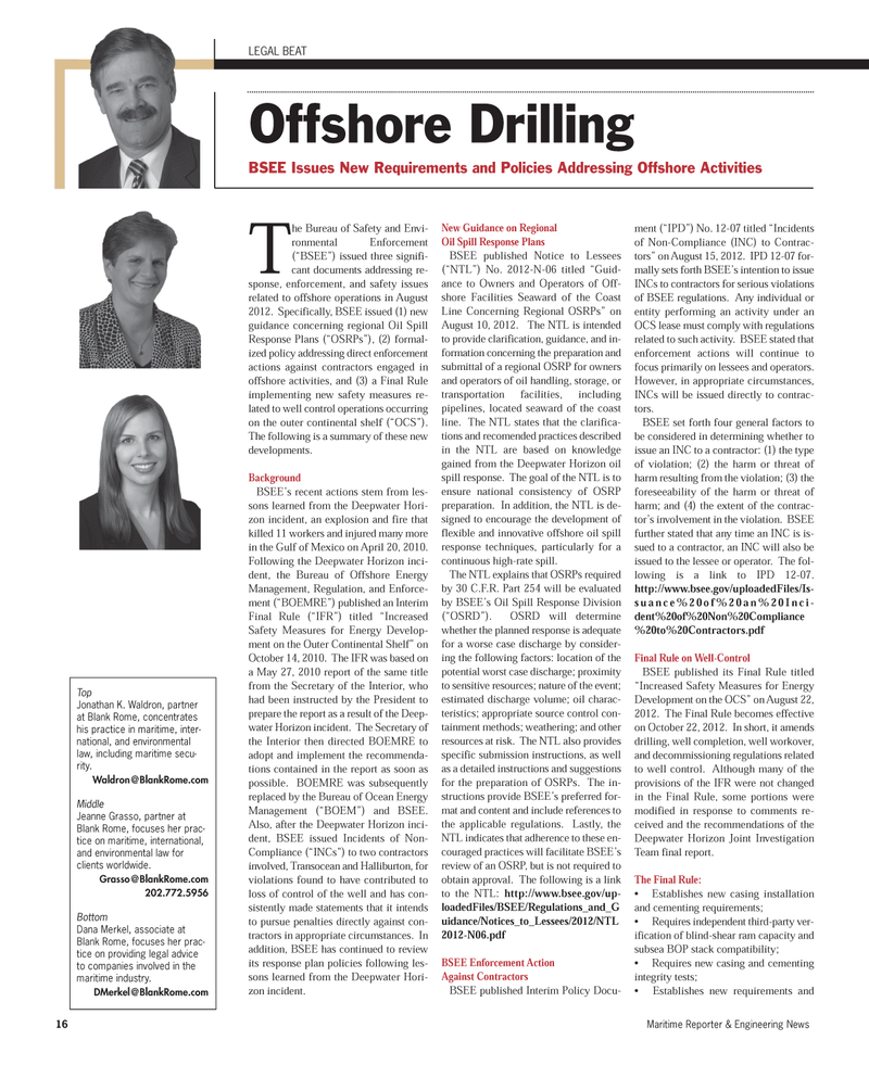 Maritime Reporter Magazine, page 16,  Sep 2012