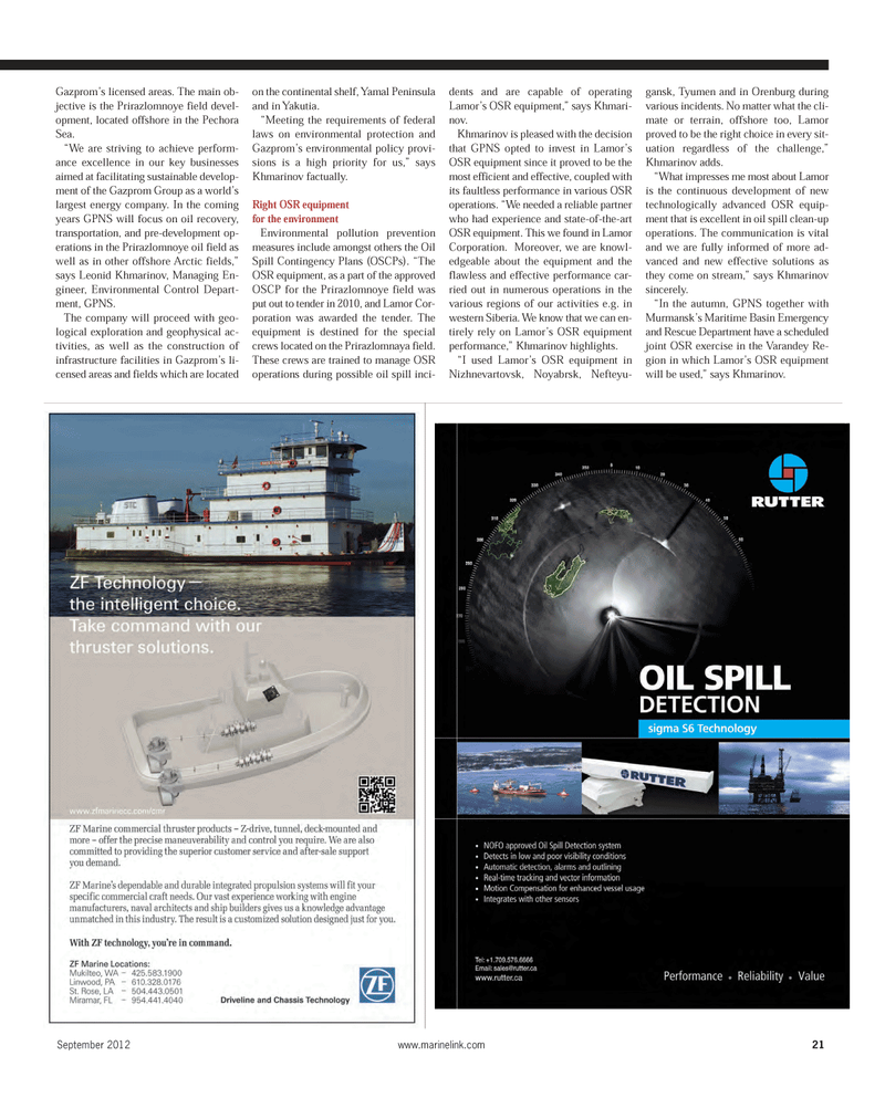 Maritime Reporter Magazine, page 21,  Sep 2012