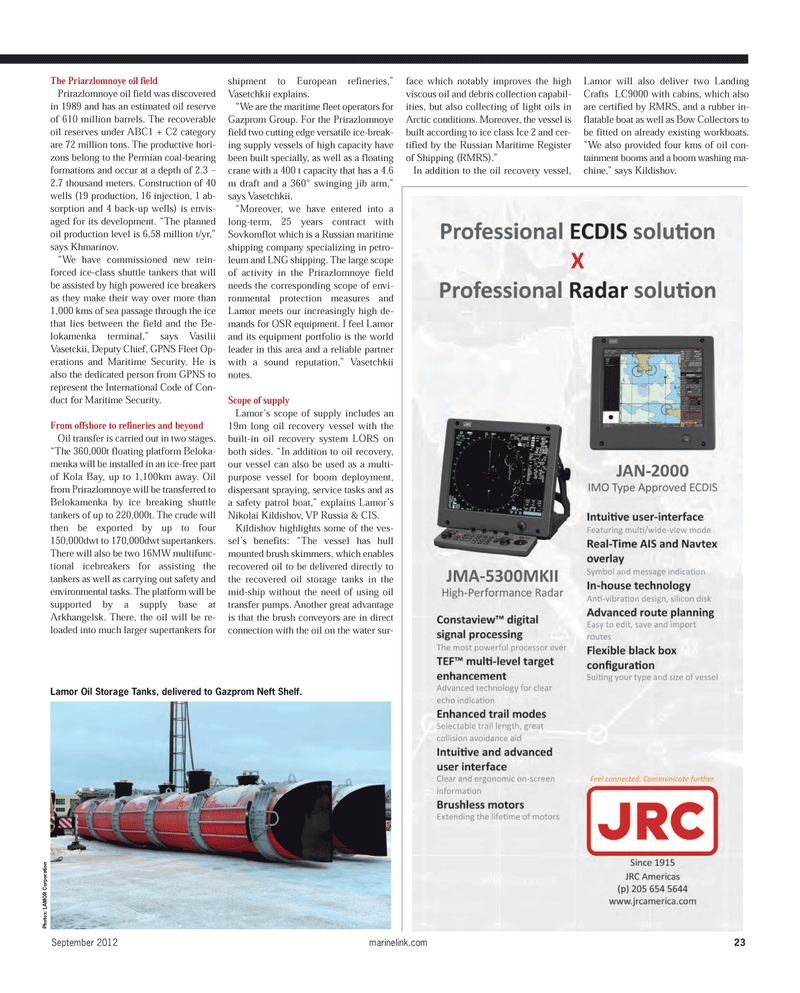 Maritime Reporter Magazine, page 23,  Sep 2012