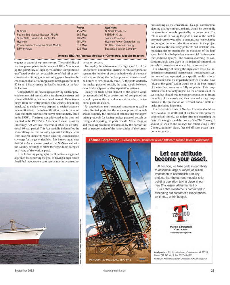 Maritime Reporter Magazine, page 29,  Sep 2012