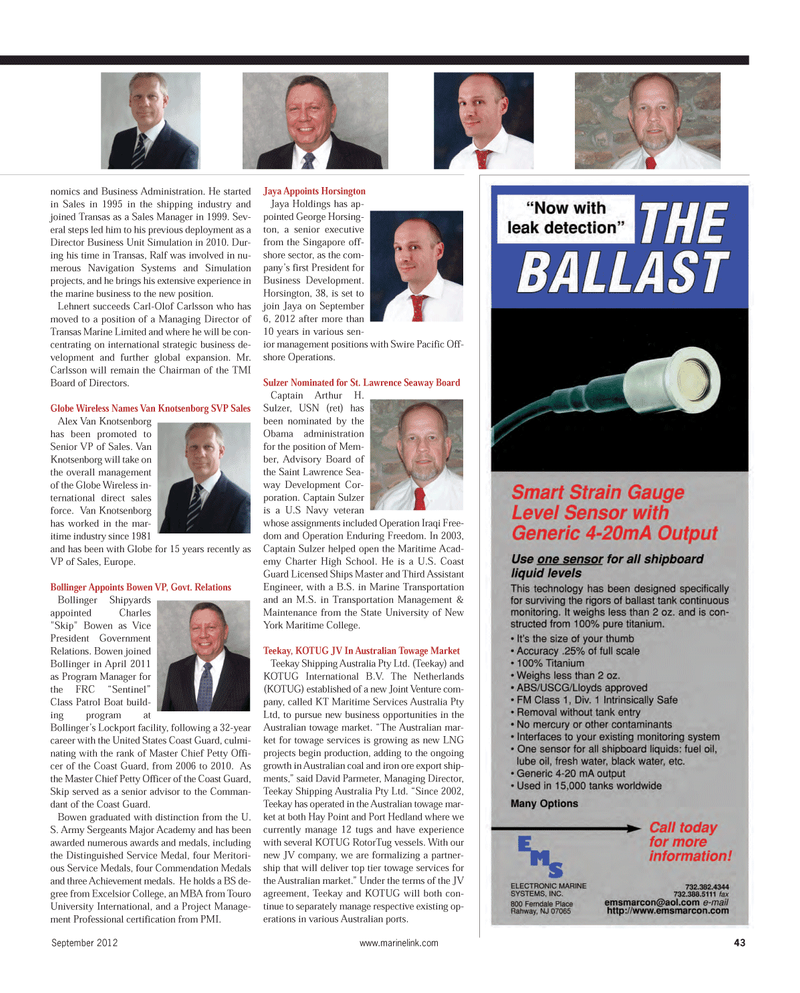 Maritime Reporter Magazine, page 43,  Sep 2012