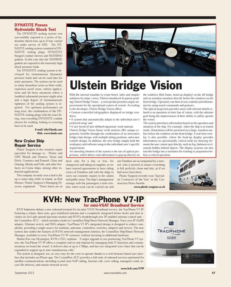 Maritime Reporter Magazine, page 47,  Sep 2012