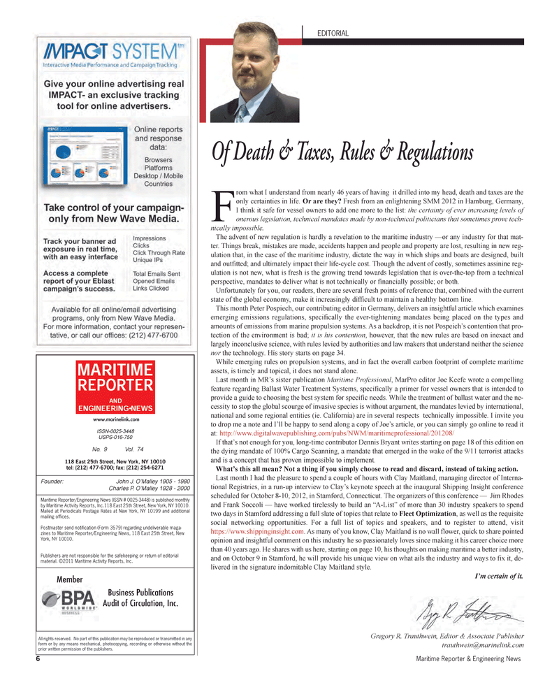 Maritime Reporter Magazine, page 6,  Sep 2012