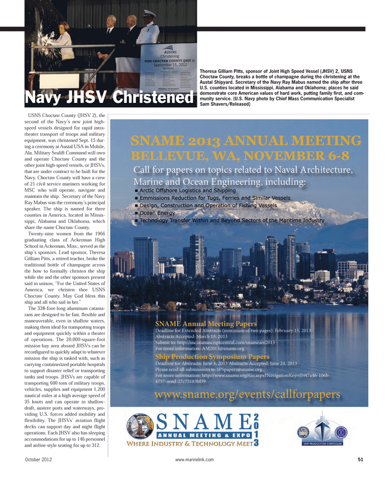 Maritime Reporter Magazine, page 51,  Oct 2012 Sam Shavers
