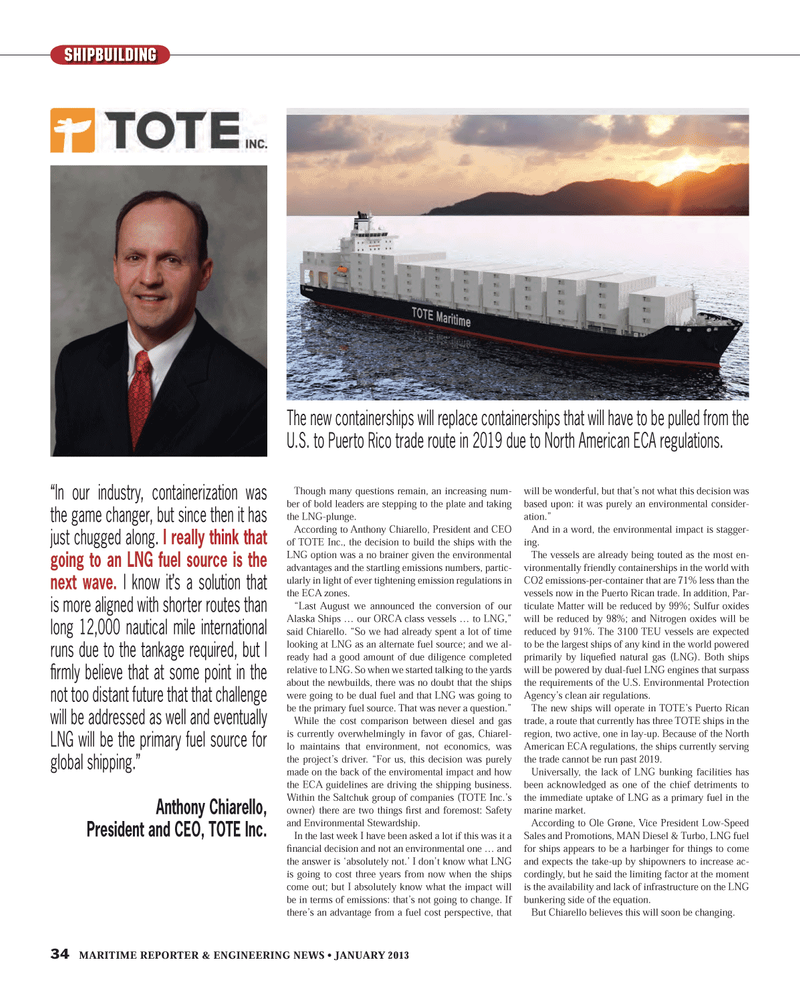 Maritime Reporter Magazine, page 34,  Jan 2013 United States