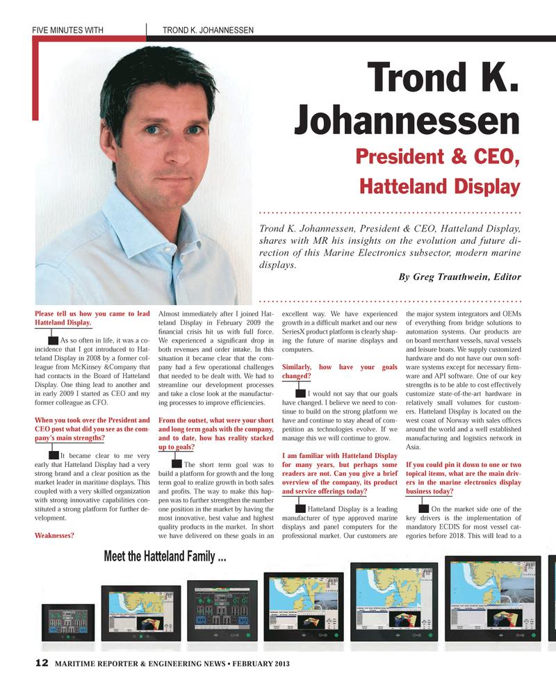 Maritime Reporter Magazine, page 12,  Feb 2013