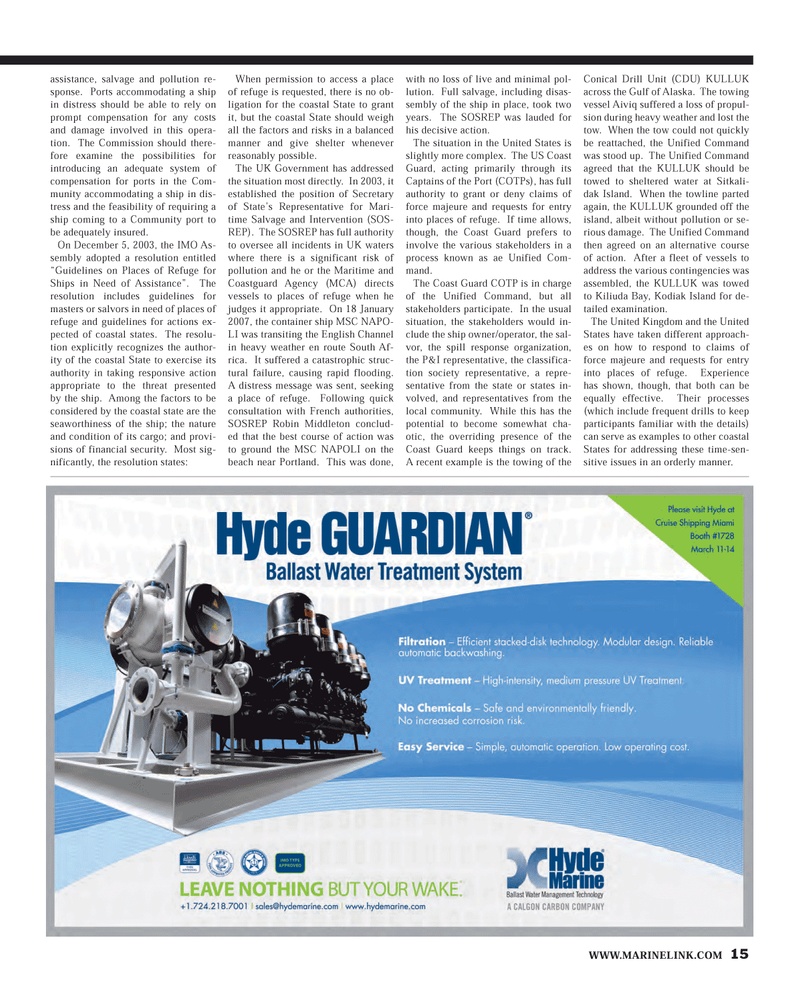 Maritime Reporter Magazine, page 15,  Feb 2013
