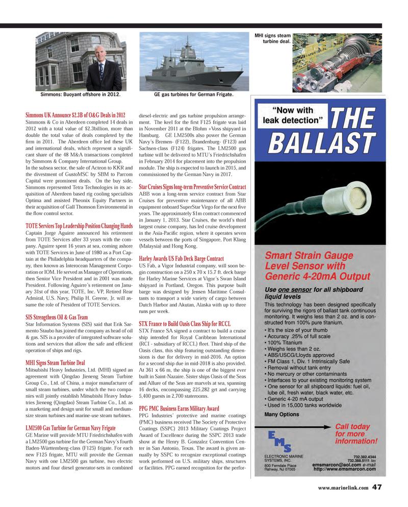 Maritime Reporter Magazine, page 47,  Feb 2013