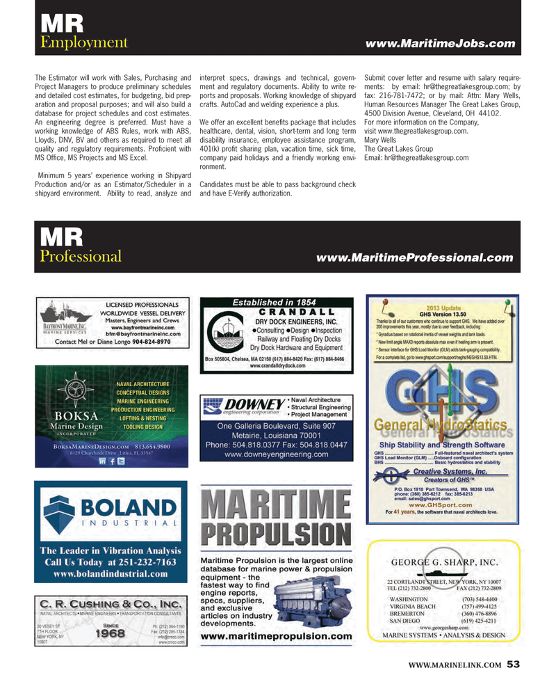 Maritime Reporter Magazine, page 53,  Feb 2013