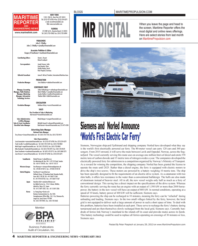 Maritime Reporter Magazine, page 4,  Feb 2013