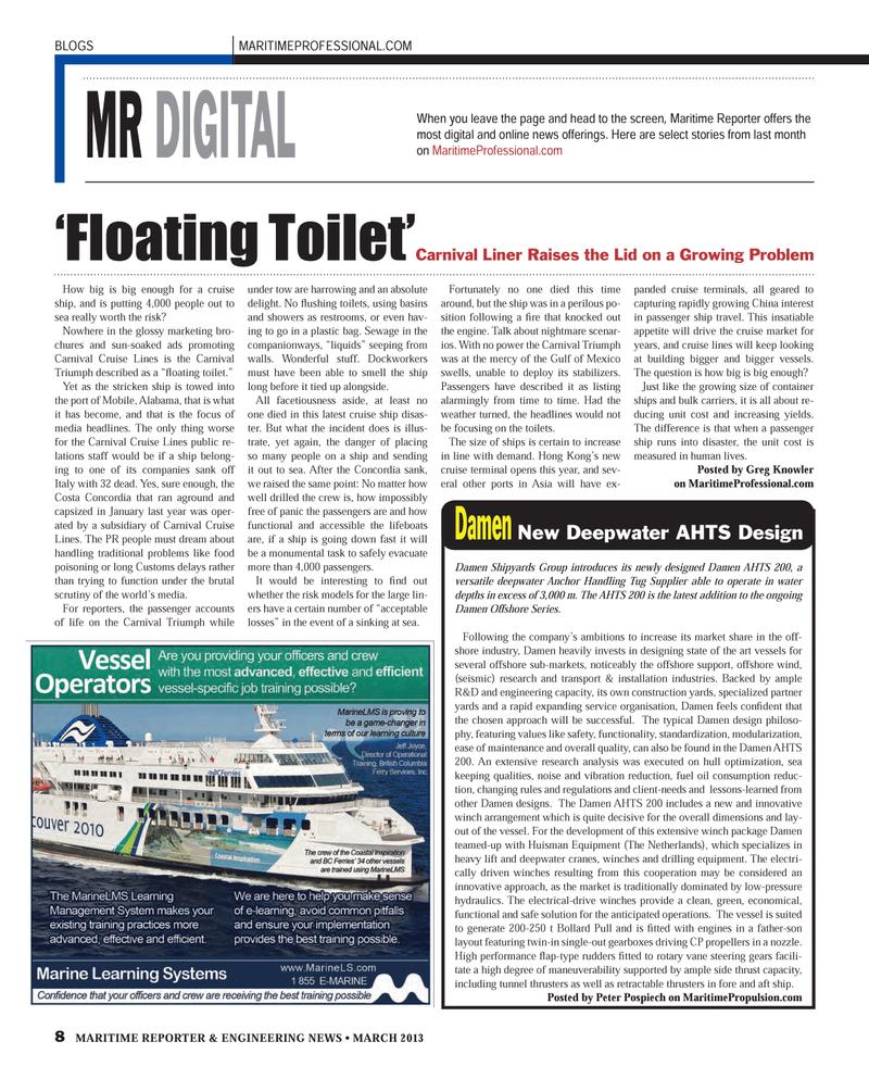 Maritime Reporter Magazine, page 8,  Mar 2013 Peter Pospiech