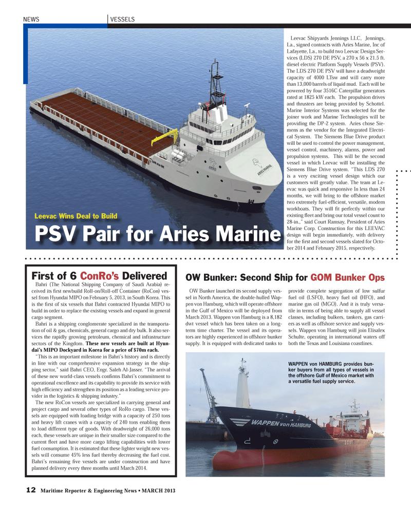 Maritime Reporter Magazine, page 12,  Mar 2013