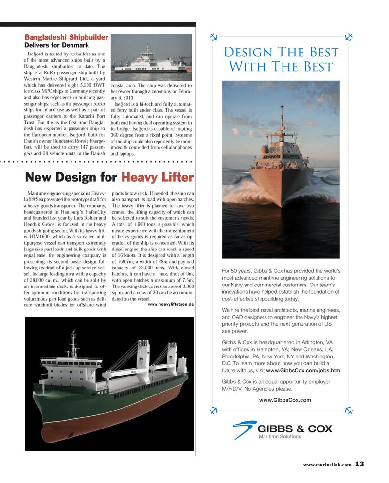 Maritime Reporter Magazine, page 13,  Mar 2013 Virginia