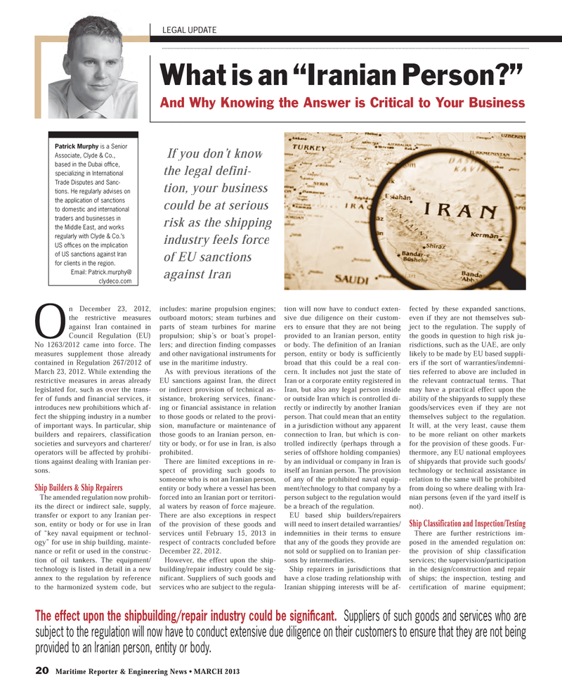 Maritime Reporter Magazine, page 20,  Mar 2013 Middle East