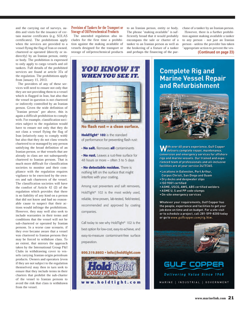 Maritime Reporter Magazine, page 21,  Mar 2013 oil/petrochemical products