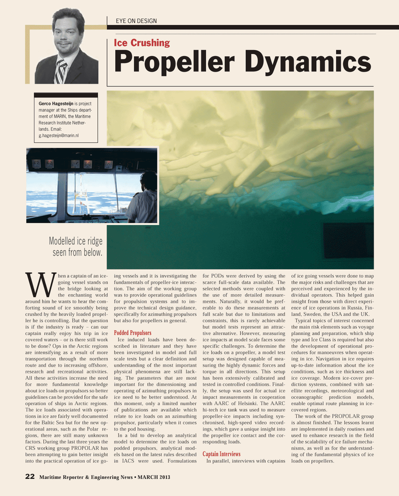Maritime Reporter Magazine, page 22,  Mar 2013 ice-cover pre-diction systems