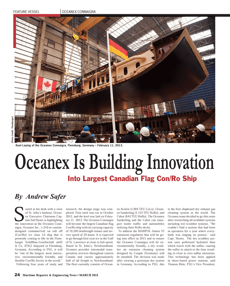 Maritime Reporter Magazine, page 24,  Mar 2013 FEATURE VESSEL OCEANEX CONNAIGRA