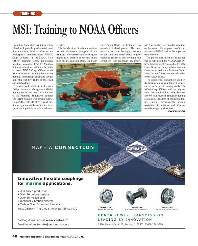 Maritime Reporter Magazine, page 40,  Mar 2013 Training Center