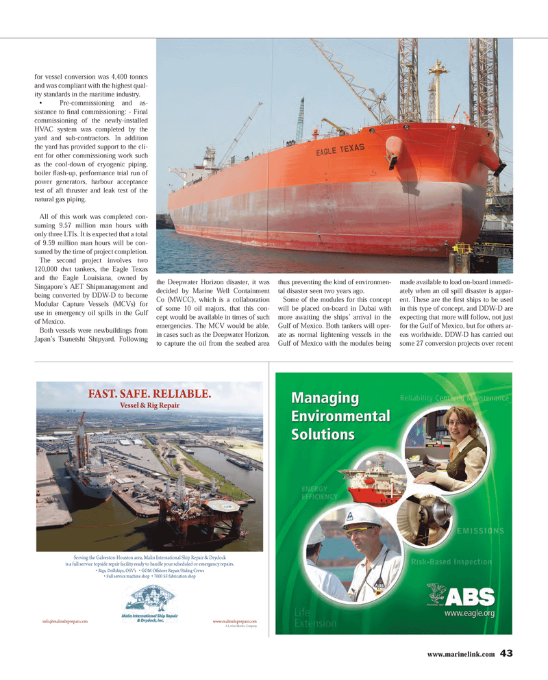 Maritime Reporter Magazine, page 43,  Mar 2013 oil spill disaster