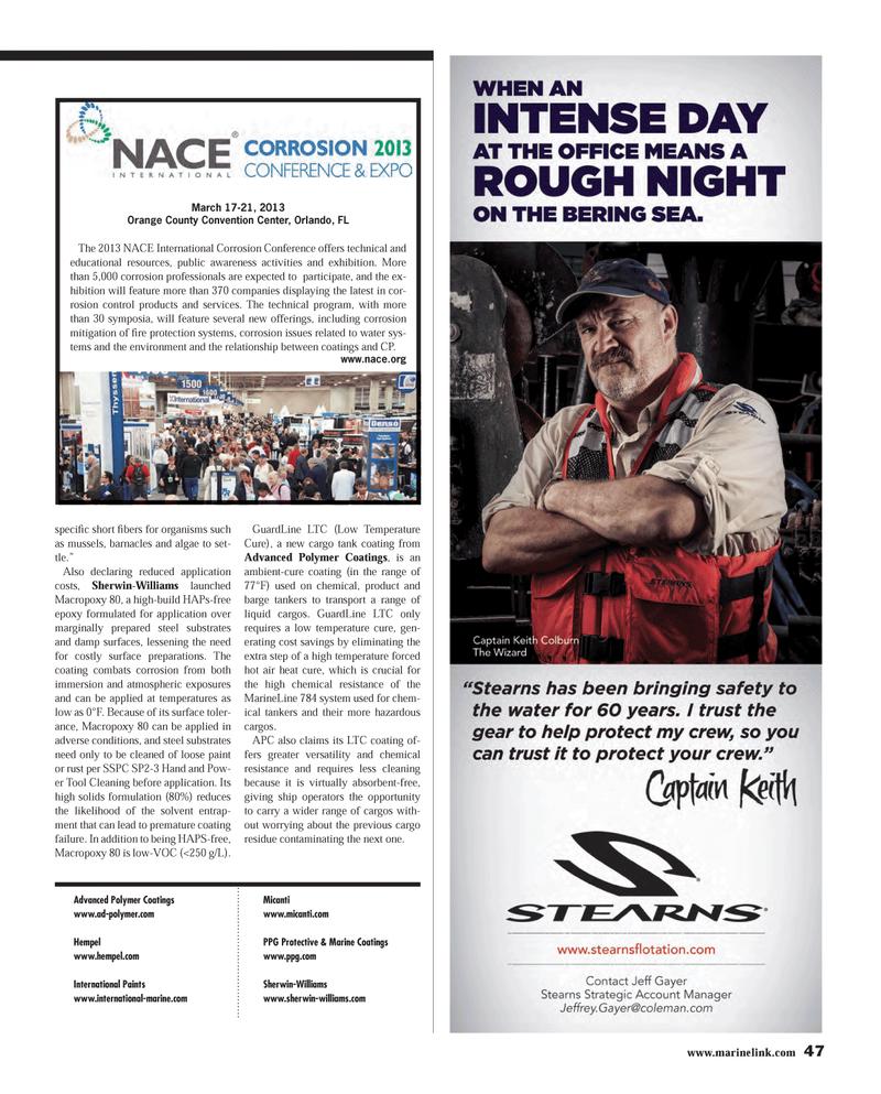 Maritime Reporter Magazine, page 47,  Mar 2013 Orange County Convention Center