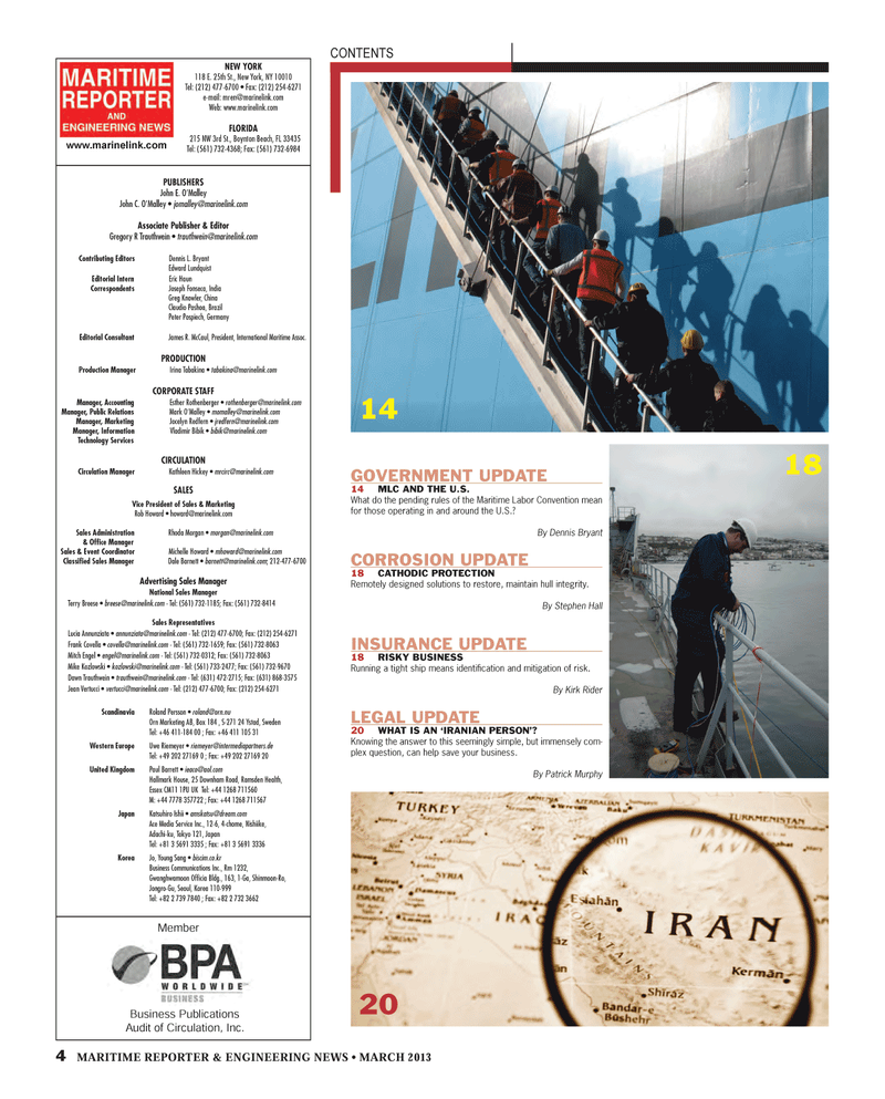 Maritime Reporter Magazine, page 4,  Mar 2013 MemberNEW YORK118 E. 25th St.