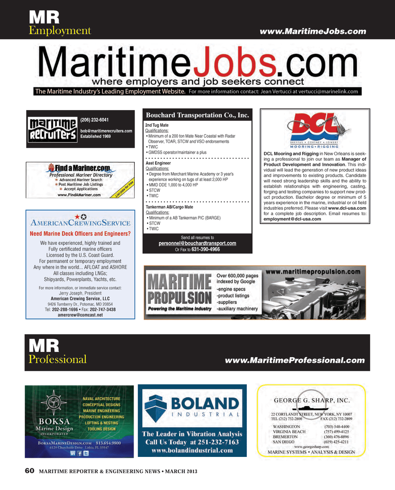 Maritime Reporter Magazine, page 60,  Mar 2013 Tug Mate Quali