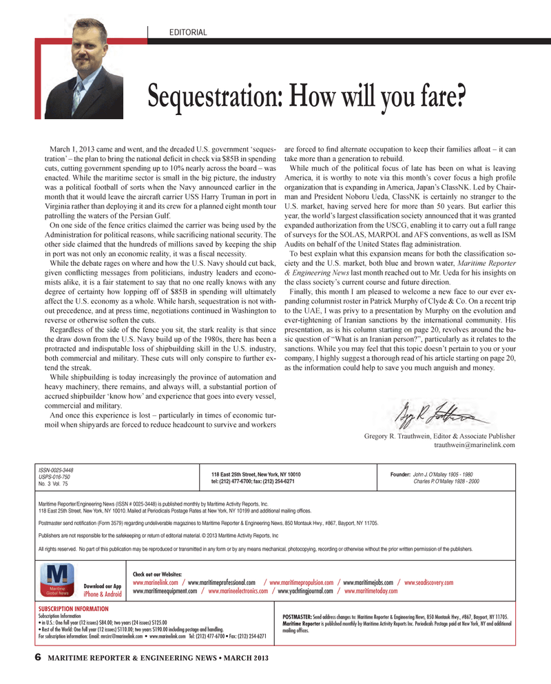 Maritime Reporter Magazine, page 6,  Mar 2013 Gregory R. Trauthwein