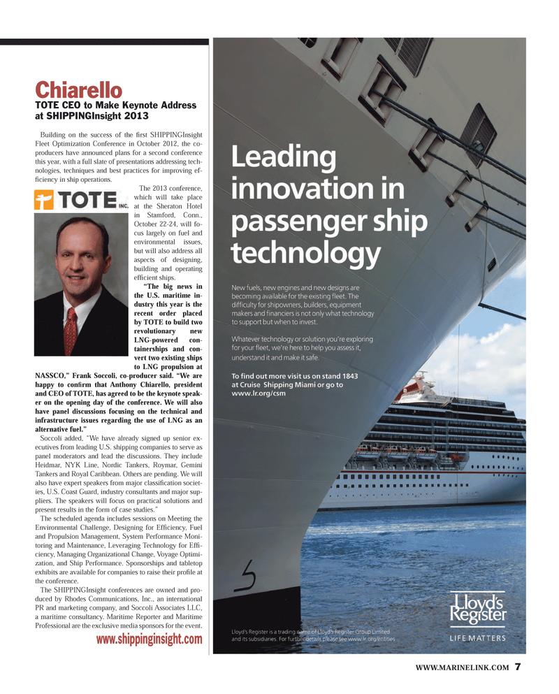 Maritime Reporter Magazine, page 7,  Mar 2013