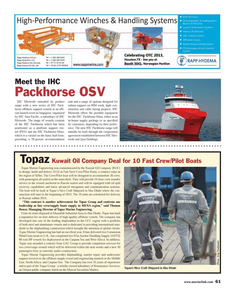 Maritime Reporter Magazine, page 61,  Apr 2013 Thomas Bower