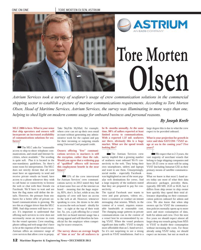 Maritime Reporter Magazine, page 12,  Dec 2013