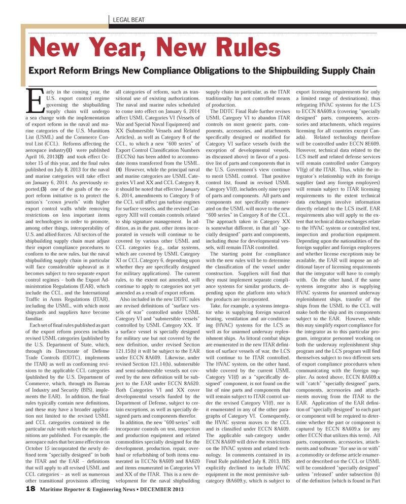 Maritime Reporter Magazine, page 18,  Dec 2013