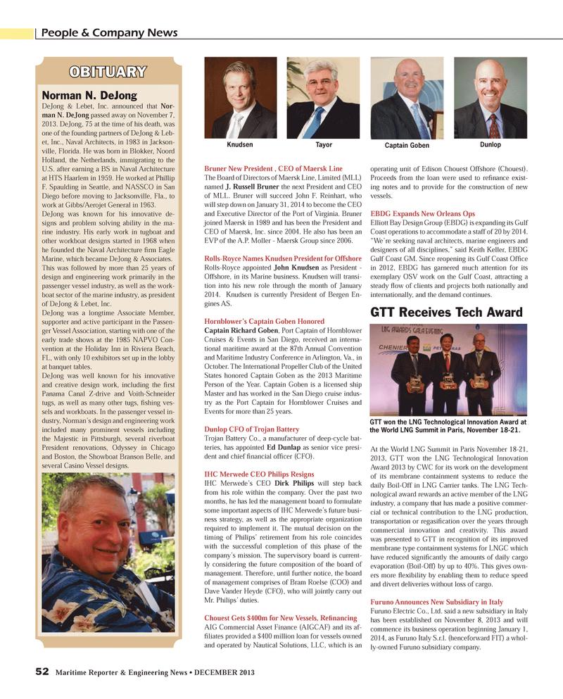 Maritime Reporter Magazine, page 52,  Dec 2013