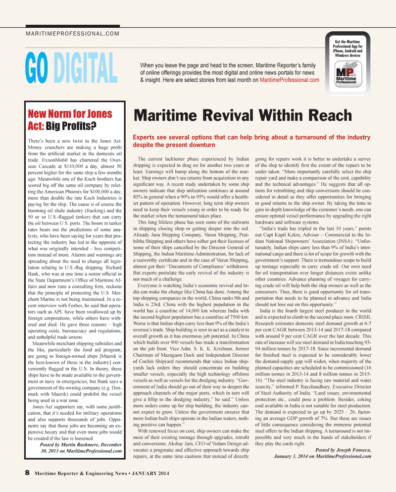 Maritime Reporter Magazine, page 8,  Jan 2014 iPhone