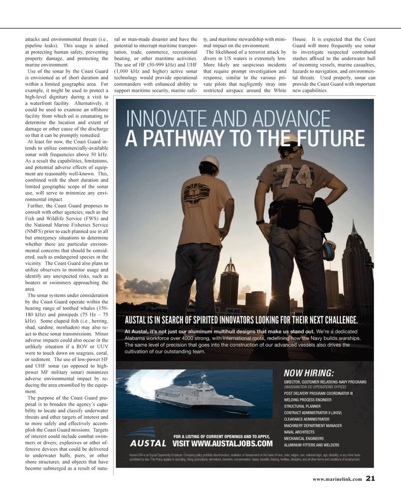 Maritime Reporter Magazine, page 21,  Jan 2014 sonar systems