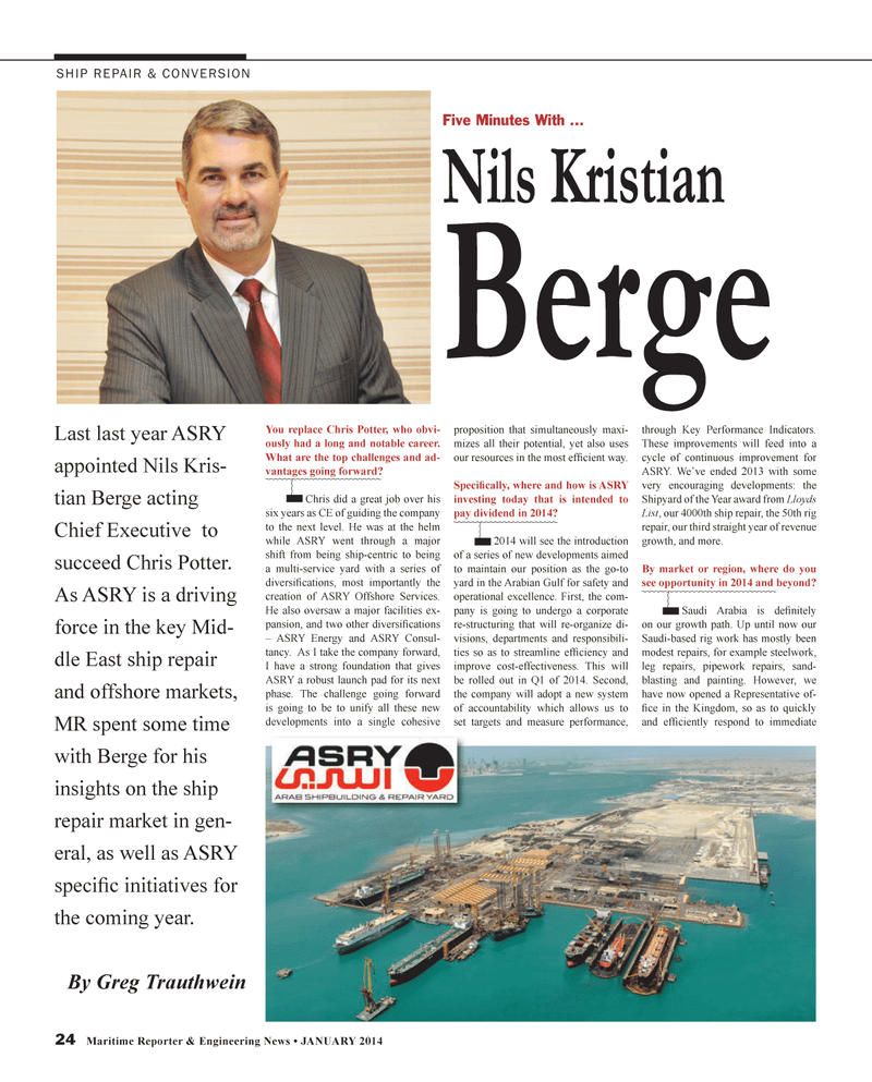 Maritime Reporter Magazine, page 24,  Jan 2014 Nils Kris
