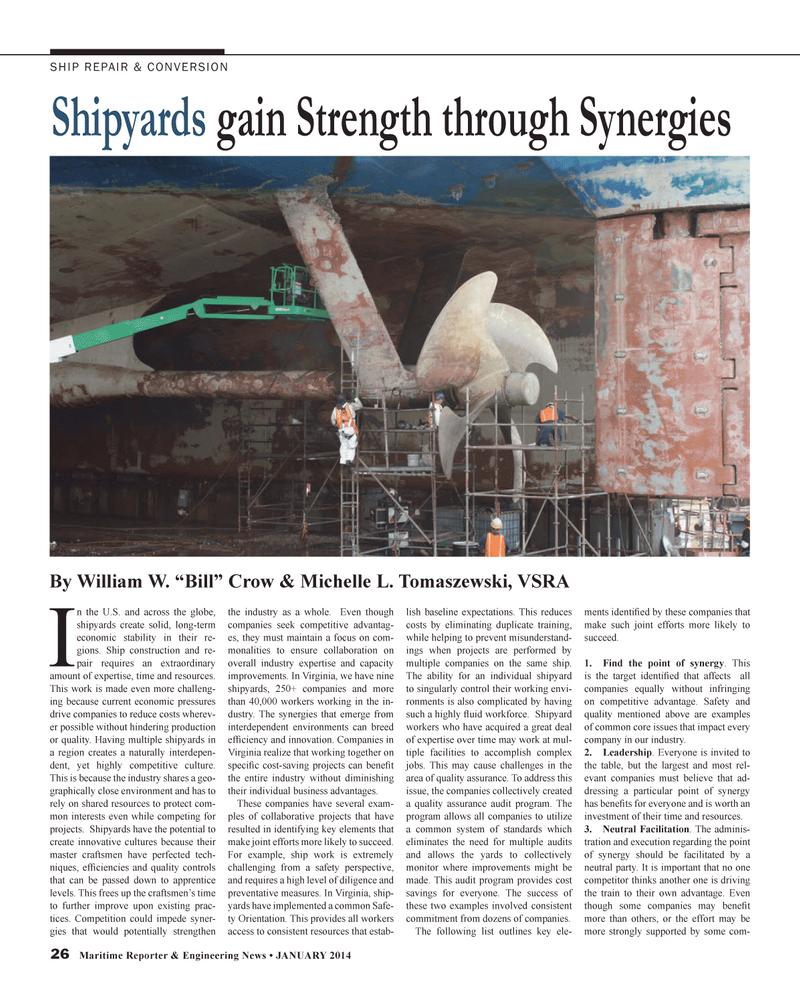 Maritime Reporter Magazine, page 26,  Jan 2014 Virginia