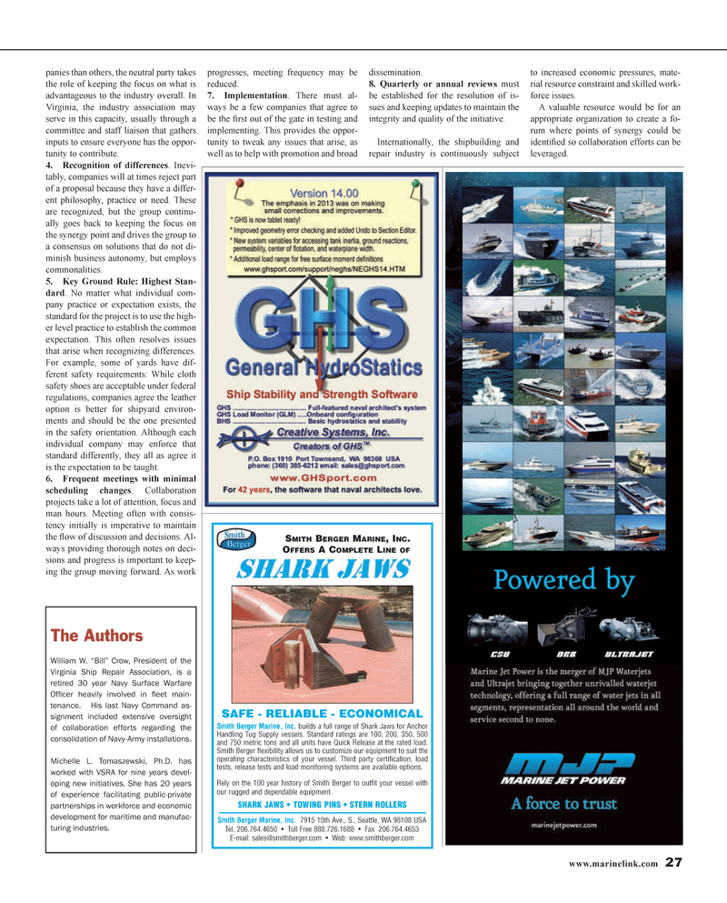 Maritime Reporter Magazine, page 27,  Jan 2014 Navy Command