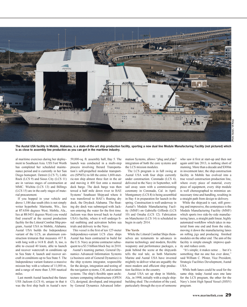 Maritime Reporter Magazine, page 29,  Jan 2014 LCS mission